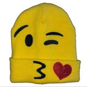 Other - NWOT Kids Youth Girls KISSY EMOJI Yellow Beanie